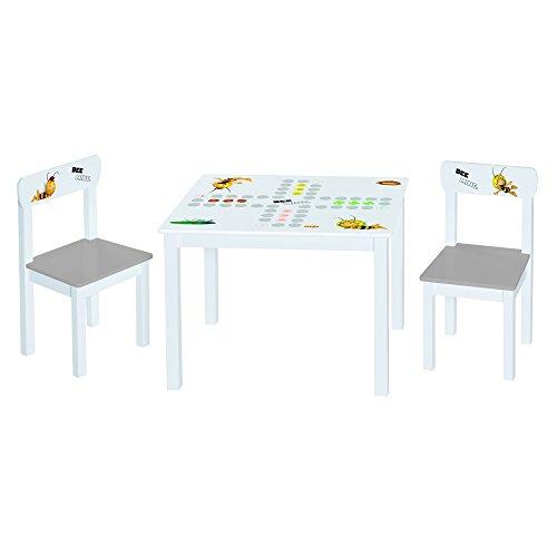 Roba Kinder Sitzgruppe \'Biene Maja\', Kindermöbel Set aus 2 Kinderstühlen & 1 Tisch, Sitzgarnitur mit Spielbrett-, Maja- und Willi- Bedruckung