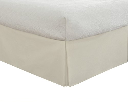 Lux Hotel Tailored Bed Skirt Classic 14' Drop Length Pleated Styling, California King, Ivory