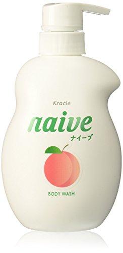 KRACIE Naive Body Pump Soap, Peach, 17.9 Ounce