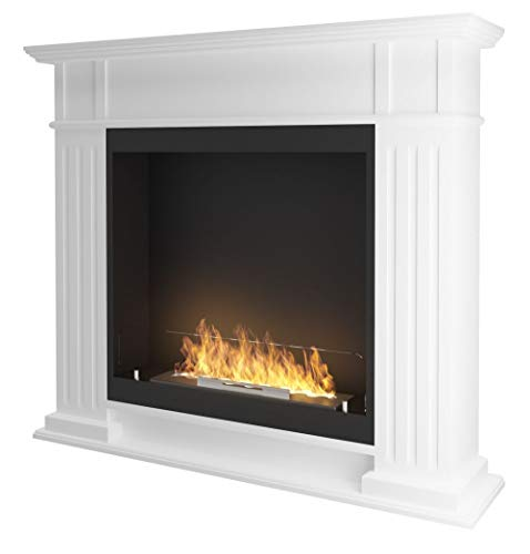 Classic bioethanol Fireplace Sined Fire Inportal 1 White Traditional Wall Fireplace with Ethanol Burner Made of Stainless Steel and MDF Wood Frame No Chimney Required Flame Adjustable