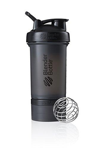 BlenderBottle ProStak Shaker avec 2 boîtes supplémentaires de 100, 150 ml + compartiment à pilules, 450 ml, Noir (Full Color Black)