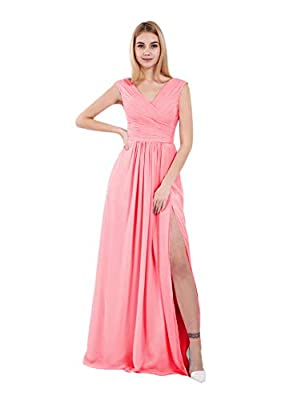 Features: A line, v neck sleeveless prom gowns, pleated chiffon ruched prom dress, floor-length wedding guest dresses corset adjustable lace up v back fully lined built in bra bridesmaid dress maid of honor with side slit split For Size Details: Plea...