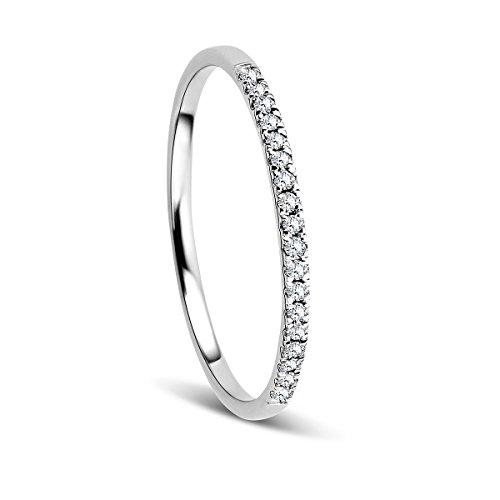 Orovi Anillo Señora compromiso/aniversario en Oro Blanco con Diamantes Talla Brillante 0.08 ct Oro 9 Kt / 375