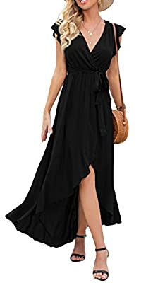Fabric:95% Rayon + 5% Spandex,Super soft, Classy high quality fabric,very flowy soft . Features:Maxi Long Dress,Cross V Neck,A true wrap silhouette complete, Short Sleeve,Elastic Waistband,High Low Hemline,Ruffle Cap Sleeves,Floor Length You can pair...