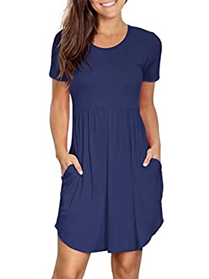 Swing dresses with short sleeve, tunic length, solid and floral print color, can be easily dress up or down. Casual sun dress features round neck, elastic waist, asymmetrical hem, side pocket, relax but flattering. Summer dresses above knee length, s...