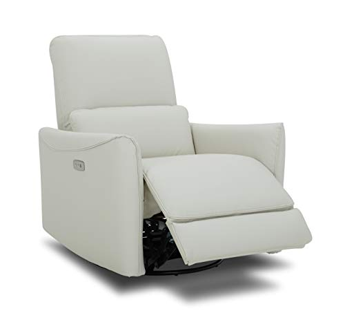 CHITA Power Recliner Swivel Glider, Upholstered Faux Leather Living Room Reclining Sofa Chair with Lumbar Support, Cream