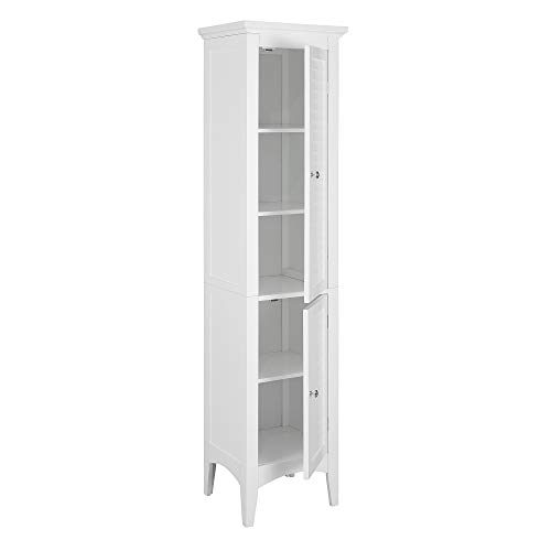Elegant Home Fashions Glancy Linen Tower Freestanding Cabinet Tall Narrow Bathroom Kitchen Living Room Storage with...