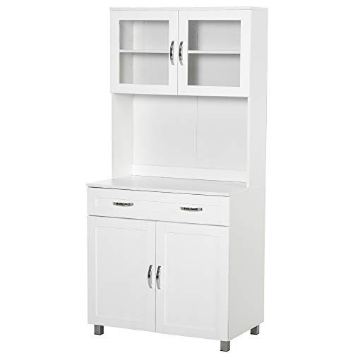HOMCOM Modern Kitchen Pantry with Buffet Cabinet, Cupboard with Framed...