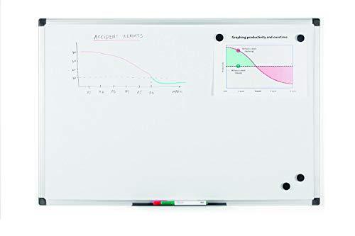 Bi-Office Maya - Lavagna Magnetica Bianca, 90 x 60 cm, Con Cornice In Alluminio, Superficie...