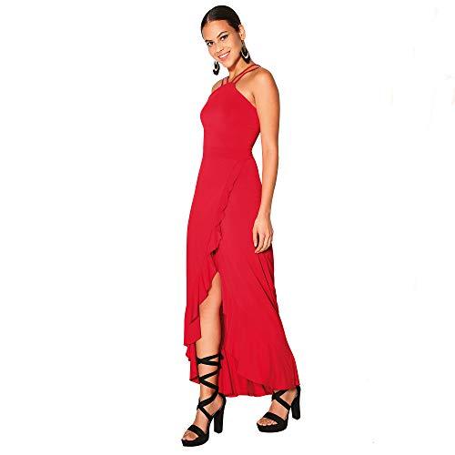 VENCA Vestido Largo Sexy de Fiesta con Tirantes Mujer by Vencastyle - 024360,Rojo,XS