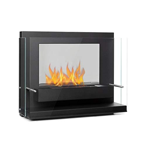 Klarstein Phantasma Vidro Ethanol Fireplace - Smokeless & Odourless, Stainless Steel Bio-Ethanol Burner, Heating Power: Approx. 3.6 kW, 0.8 l Tank, Approx. 2 Hours Burn Time, Extinguishing Aid, Black