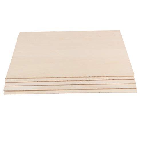 Fenteer 5er-Set Modell DIY Holzplatte Bastelholz Balsaholz zum Basteln - 200x300x2mm