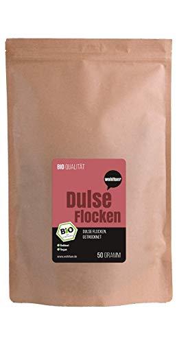 Wohltuer Bio Dulseflocken | Dulse Algen Bio | Lappentang Bio getrocknet | Aus dem Atlantik 50g