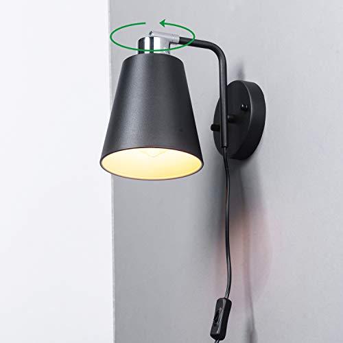 Modern Mini Wall Sconce 350°Rotatable Matte Black Wall Light...