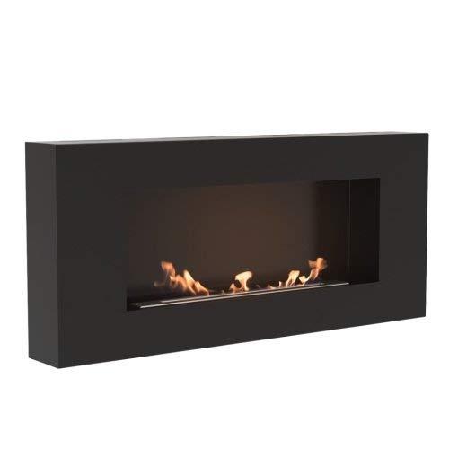 DELTA FLAT Bioethanol Bioethanol Fireplace Wall Fireplace Black TÜV Tested