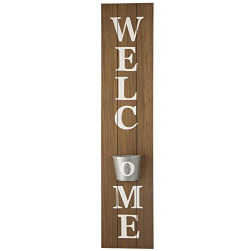 glitzhome Welcome Sign for Front Door 42 Inch Farmhouse Vertical Wooden Welcome Sign with Cute Metal Hanging Planter for Porch Rustic Wall Decoration Indoor Outdoor Front Porch Decor, Natural