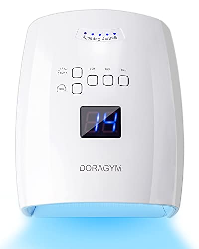 Rechargeable UV LED Nail Lamp, DORAGYM 48W Professional Nail Light, Cordless Curing Gel Fast Nail Dryer, Automatic Sensor Portable Nail Lamp for Fingernails and Toenails(White)