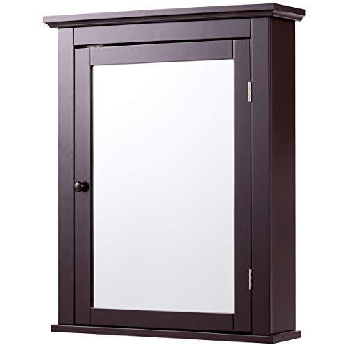 Tangkula Bathroom Cabinet, Mirrored Wall-Mounted Storage Medicine...