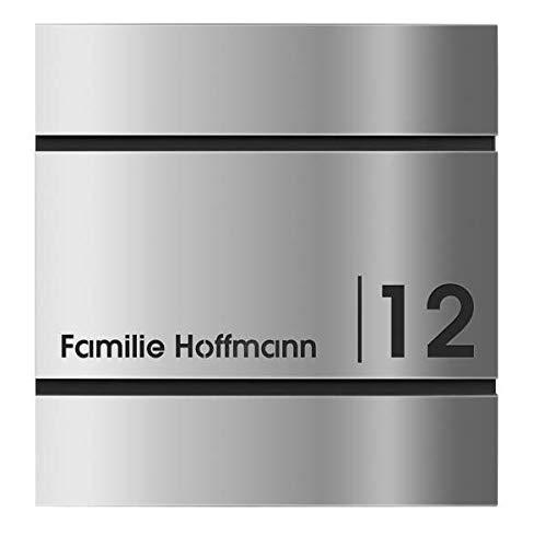 Frabox® Edelstahl Design Briefkasten LENS mit Zeitungsfach Hausnummer und Namen