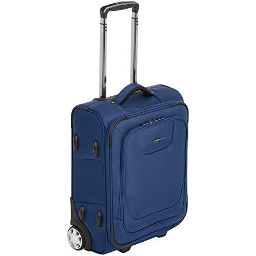Amazon Basics – Erweiterbarer Weichschalen-Koffer, Handgepäck-Größe, mit TSA-Schloss und Rollen, 55 cm, blau