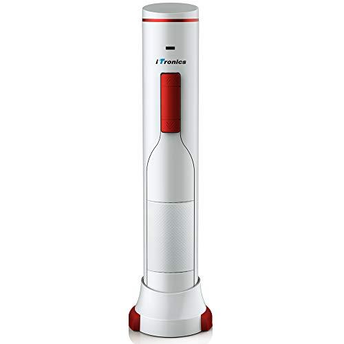 iTronics wiederaufladbar Elektrischer Korkenzieher automatischer Weinöffner Universal Wein Flaschenöffner Kapselheber mit Kapselschneider, Weiß