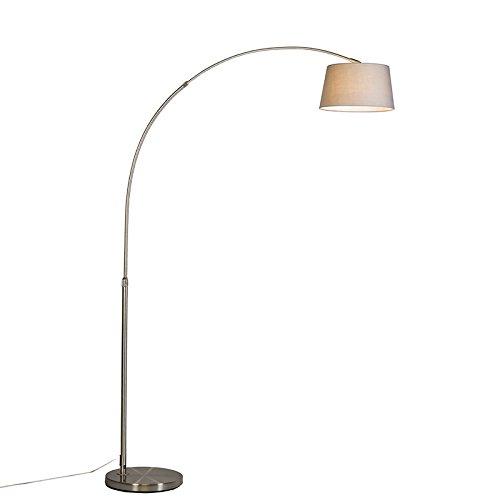 QAZQA Modern Moderne Bogenlampe Stahl/Silber/nickel matt mit grauem Stoffschirm - Arc Basic/Innenbeleuchtung/Wohnzimmerlampe Textil/Stahl Rund LED geeignet E27 Max. 1 x 20 Watt