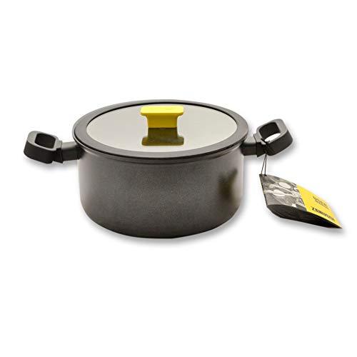 ZANUSSI Verona - Pentola in alluminio da 24 cm, 24 x 13 cm, con manico rivettato, 5,4 l, coperchio in vetro temperato con bordo in silicone, rivestimento antiaderente Xylan, colore nero