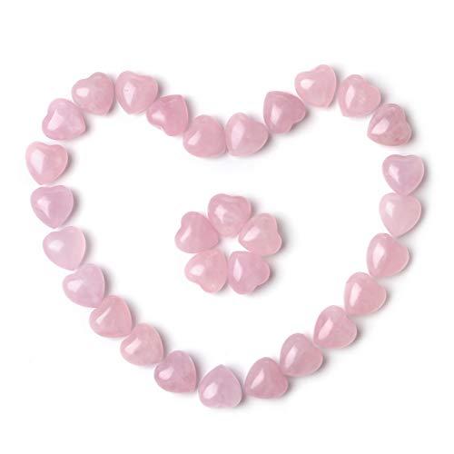 Jovivi 30pcs 0.6' Natural Rose Quartz Crystal Heart Love...