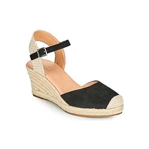 XTI Zapato de mujer con cuña, alpargata en color negro - NEGRO, 39