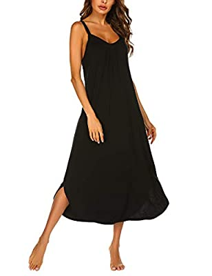 ♥Soft and Breathable Nightgown - The Ekouaer Sleepwear is made of Good fabric(95% Rayon, 5% Spandex) that will wrap your skin cool and cozy all night,which is a Lightweight,Breathable fabric that does not wrinkle as much as 100% cotton shirt may do.U...