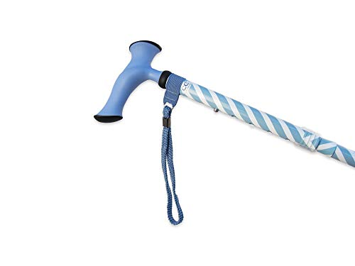 Charming Canes Adjustable Folding Walking Stick with Strap and Carrying Case (Teal Holly)