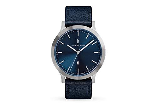 Lilienthal Berlin Huxley Silver Blue | Made in Germany | Unisex Armbanduhr | 40mm (Blau - Leder)