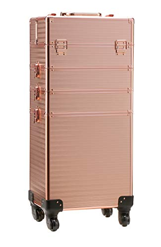 Rolling Train Case 4-in-1 Portable Makeup Train Case Professional Cosmetic Organizer Makeup Traveling case Trolley Cart Trunk(Rose Gold)