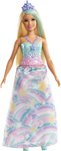 Barbie Dreamtopia Princess Doll, Approx 12-Inch Blonde with Blue Hairstreak Wearing Rainbow Outfit and Tiara, for 3 to 7 Year Olds​