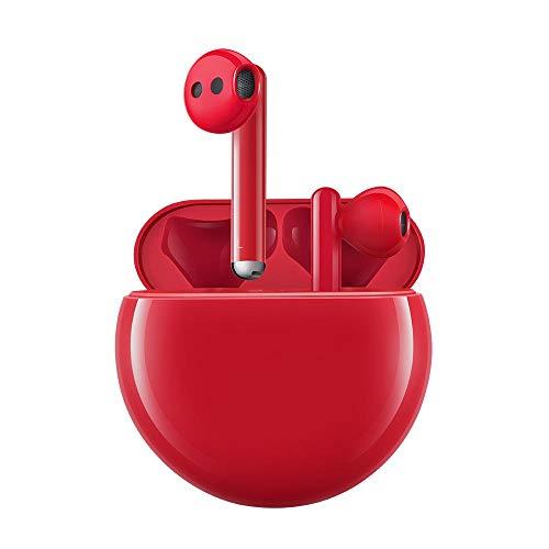 HUAWEI FreeBuds 3 - Auriculares Inalámbricos con Cancelación de Ruido Activa (Chip Kirin A1, Baja Latencia, Conexión Bluetooth Ultrarápida, Altavoz de 14.2 mm, Carga Inalámbrica) Color Rojo