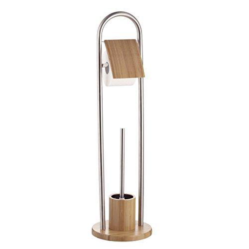 Ribelli WC-Garnitur + Toilettenpapierhalter Bambus mit Toilettenbürste Klobürste Edelstahl ca. 80 cm - WC-Bürste mit Standfuß Ø ca. 22 cm und Klopapierhalter mit Deckel