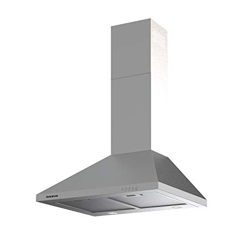 Taurus PR75IXAL - Cappa decorativa in acciaio inox, larghezza 75 cm, 650 m3/h di aspirazione, 3 velocit, comandi meccanici, efficienza A, 200 W, filtri in alluminio lavabili multistrato, LED