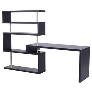 HomCom 94' 4 Tier L-Shaped Rotating Versatile Computer Desk with Shelves and Steel Frame - Black