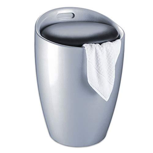 WENKO Badhocker Candy Silber, Hocker mit Stauraum für das Badezimmer und Wohnzimmer, integrierter Wäschesammler, ABS-Kunststoff, Fassungsvermögen 20 L, Ø 36 x 50,5 cm