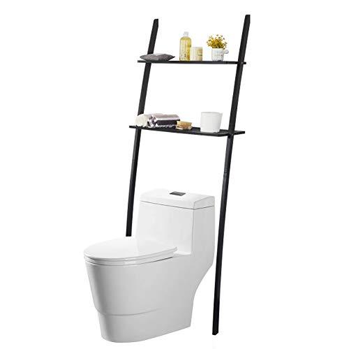 Toilettenregal Waschmaschinenregal platzsparendes Badregal aus Bambus, Bad WC Regal Lagerregal mit 2 Ablagen – 173x66x25cm (Schwarz)
