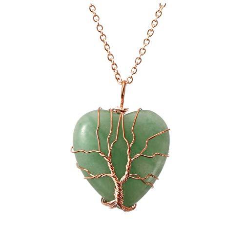 Top Plaza Natural Green Aventurine Healing Crystals Necklace...
