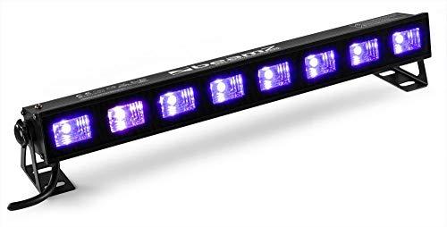 BeamZ BUV93 - LED-Bar, Schwarzlicht, Lichteffekt, Partylicht, Effektstrahler, 8 x 3 Watt, UV LED-Leiste, hohe Leuchtkraft, mit Schalter, Plug & Play, Wand- und Deckenmontage