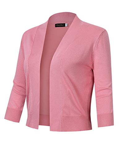 GloryStar Women's 3/4 Sleeve Open Front Cropped Cardigan Sweater Lightweight Knit Short Shrugs Dusty Pink S