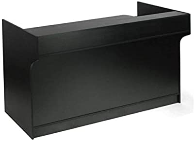 """Recessed well that helps conceal electrical cords. Features 2 adjustable shelves and a 23 x 6-inch pull-out drawer. Convenient 8-3/4-inch check writing shelf for customers. Dimensions: Overall: 70""""L x 42""""H x 18""""D Black Melamine Finish"""