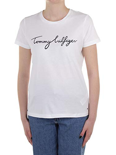 Tommy Hilfiger Heritage Crew Neck Graphic Tee Maglietta, Bianco (Classic White 100), Large Donna