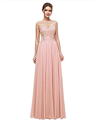 Size: Please Refer to the measurements in the product descriptions or to Size Chart on the picture column.Do not use Amazon size chart . A-Line/ Sheer Jewel Neckline/ Illusion and Zipper Back Embroidered Appliques Chiffon Beaded /Floor length/Sleevel...
