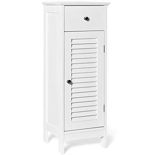 Tangkula Bathroom Floor Storage Cabinet, Wooden Storage Cabinet with...