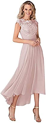 Features: cap sleeve scoop neckline,high low a line silhouette,ruched pleated,chiffon with lace appliques,corset lace up back,side pockets. Size: To make sure the dress will fit, please have a look of our size chart (not Amazon size chart), which is ...