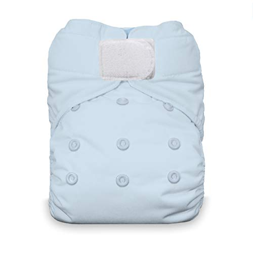 Thirsties Natural One Size All in One Cloth Diaper, Hook & Loop Closure, Ice Blue