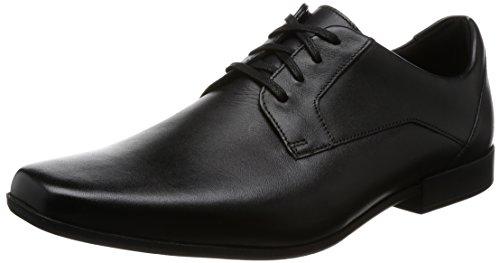 Clarks Glement Lace, Zapatos de Cordones Derby para Hombre, Negro (Black Leather), 39.5 EU